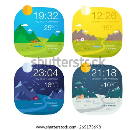 Weather widget design  - stock vector