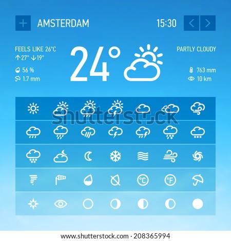 Weather widget icons set. Vector. - stock vector