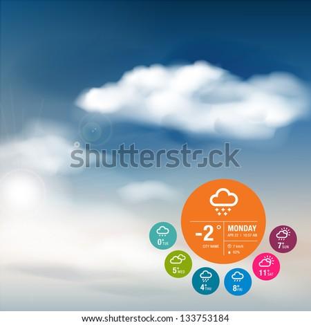 Weather widget template and sky background - stock vector