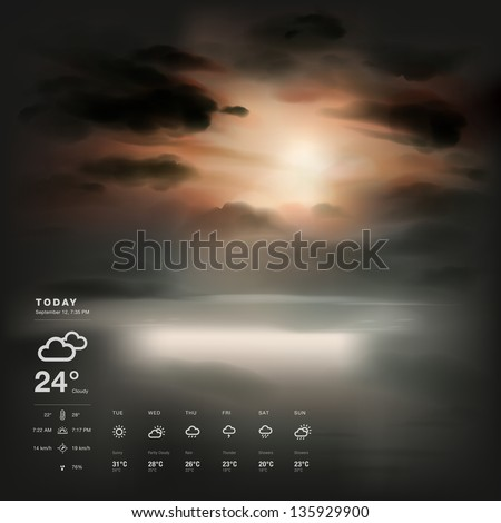 Weather widget template and sunset the sea background - stock vector