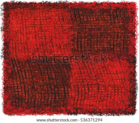 Weave grunge striped and checkered rectangular rug in black and red colors