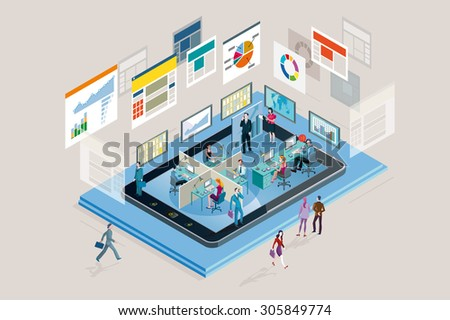 Web analysts working in a company in a mobile phone, analyzing graphs, diagram and statistics web. - stock vector