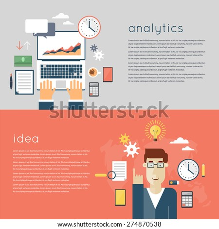 Web analytics elements, optimization, programming process concept. Hands on the laptop. A man who had the idea. Ideas concept. Flat design. - stock vector