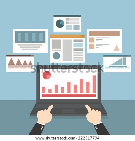 Web and application optimization, programming, design and analytics, vector EPS10, flat design - stock vector