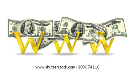 Web and bills are shown in the image. - stock vector