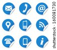 Web and Internet contact us icons set and design symbols on blue circular labels with curl. EPS10 vector illustration isolated on white background. - stock photo