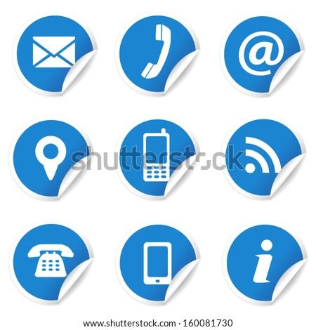 Web and Internet contact us icons set and design symbols on blue circular labels with curl. EPS10 vector illustration isolated on white background. - stock vector