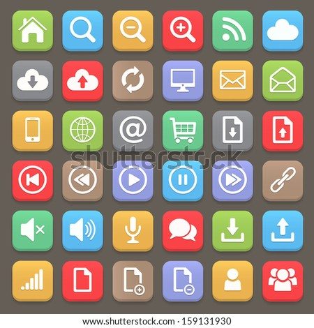 Web and internet flat icon set. Vector element