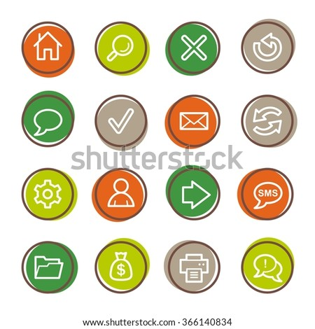 Web and internet, home and search, folder and print, arrows and recycling, web vector icons set