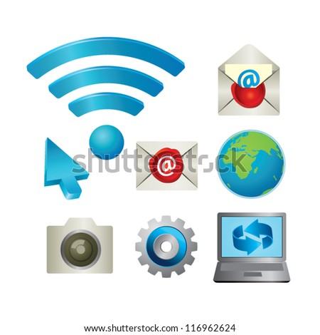 web and internet icon set - stock vector