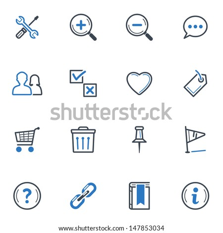 Web and Internet Icons Set 2 - Blue Series  - stock vector