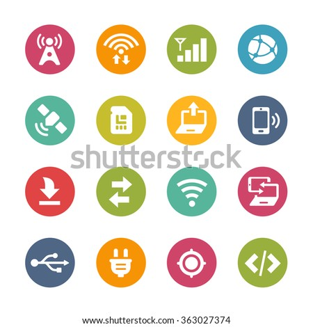 Web and Mobile Icons 6 // Fresh Colors Series ++ Icons and buttons in different layers, easy to change colors ++ - stock vector