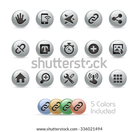 Web and Mobile Icons 10 // Metal Round Series -- The vector file includes 5 color versions for each icon in different layers. - stock vector