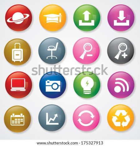 Web and Mobile Icons On 3D Buttons. Eps-10.