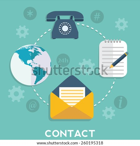 Web and mobile phone services and apps. Icons for faq, newsletter, support, contact. - stock vector