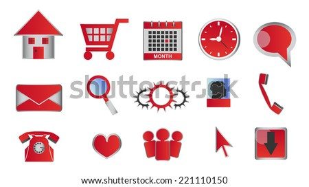 Web and multimedia glossy red icons and buttons for website in your business. Icons can be used for any type of site - e-commerce or classical small or big web. - stock vector