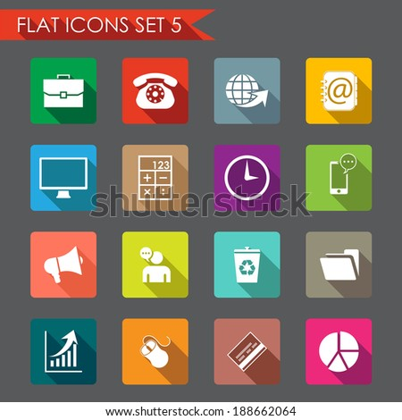 Web and office flat icons  - stock vector