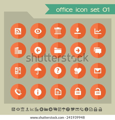Web and office icons on bright orange flat circles, set 1 - stock vector