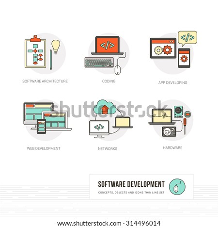 Web and software developer and computer hardware concepts, thin line objects and icons set - stock vector