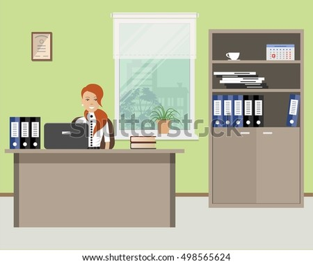 Flat Hotel Reception Desk Young Woman Stock Vector 564664366