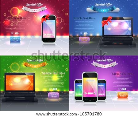 Web Banner Template Vector Design - stock vector