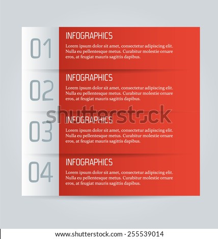 Web banner template with number options for infographic, design, business, education, presentation, website, brochure, flyer. Editable vector tags in red color. - stock vector