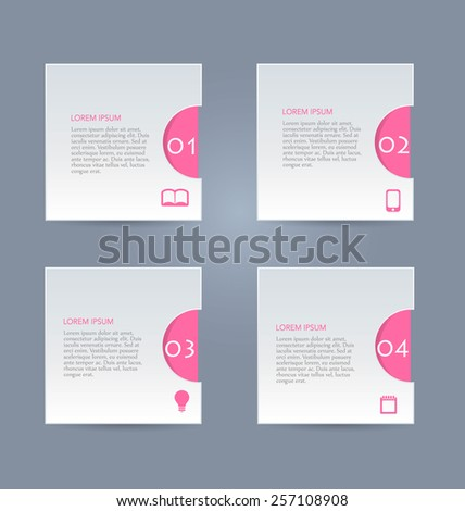 Web banner template with number options for infographic, design, business, education, presentation, website, brochure, flyer. Editable vector tags in pink color. - stock vector