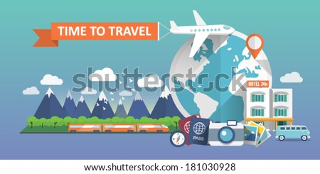 Web banner.Travel banner. Airplane trip in various country. Traveling by airplane, train, car. Mountains, clouds, birds, forest, passport, compass, camera, hotel. Flat design. Vector illustration. - stock vector