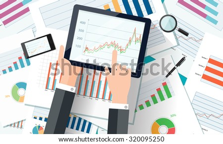 Web banner with mobile devices, business charts and reports. Vector business investment and finance concept, business planning. - stock vector