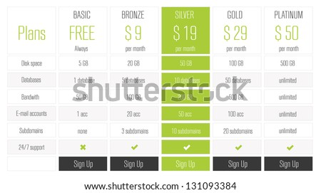 Web Banners Boxes Hosting Plans Or Pricing For Your Website - stock vector
