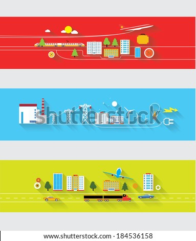 web banners industrial icons in flat design - stock vector