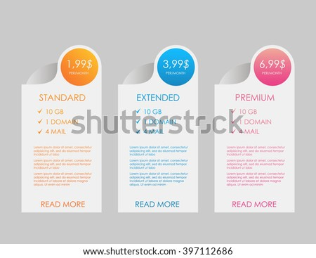 Web Banners Price List Hosting Plans Stock Vector 397112686 ...