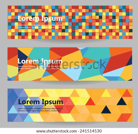 Web banners set. Color and geometry abstraction. - stock vector