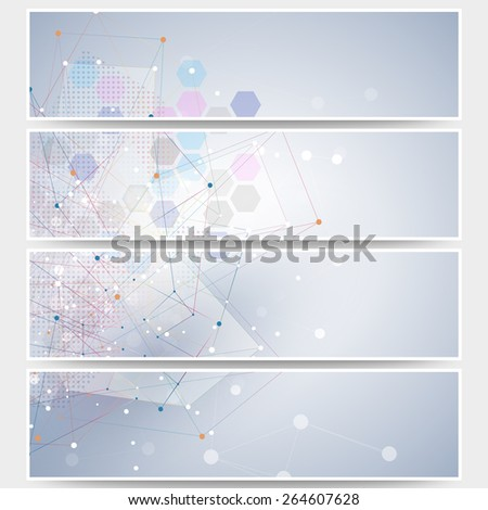 Web banners set, molecular design header layout templates. Molecule structure, blue background for communication, science vector illustration. - stock vector