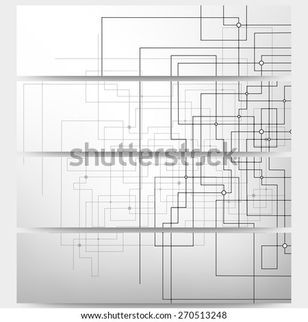 Web banners set, technical construction with connected lines and dots, header layout templates, science vector illustration - stock vector