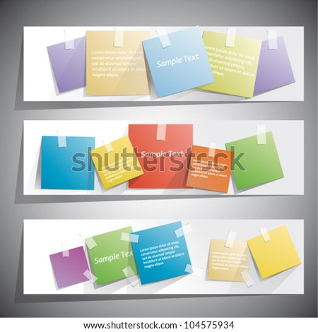 Web banners with Reminder Sticky Notes - stock vector