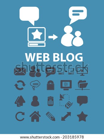 web blog, chat, speech, community icons, signs, symbols set, vector - stock vector