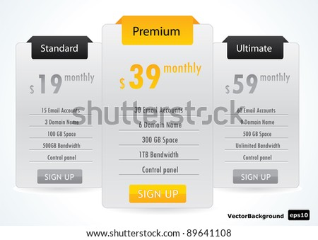 Web Boxes Hosting Plans Vector EPS10 - stock vector