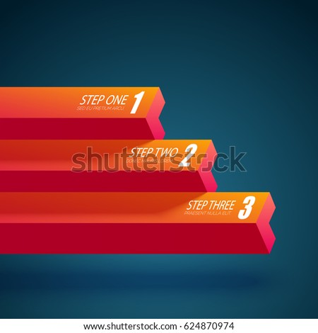 Web business abstract template with horizontal straight columns and three options isolated vector illustration