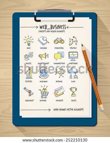 Web business sketched hand drawn concepts with pencil and clipboard - stock vector