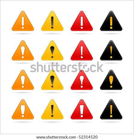 Web button colored matted attention sign with exclamation symbol on white - stock vector