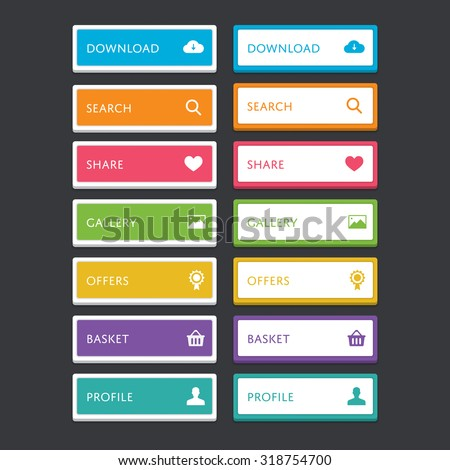 Web button set with icons - stock vector