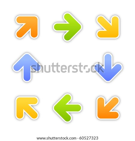 Web 2.0 button stickers arrow symbol. Colorful shapes with shadow on white background. 10 eps - stock vector
