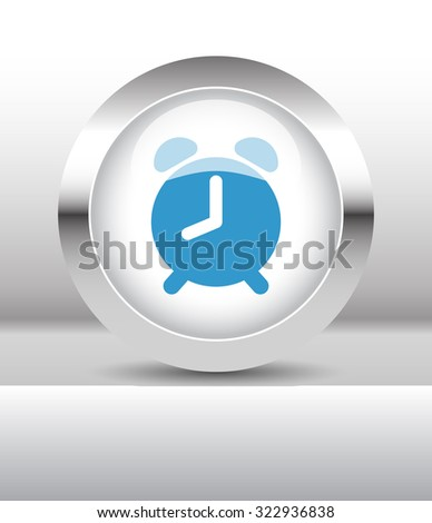 Web button with Alarm Clock illustration on abstract table - stock vector