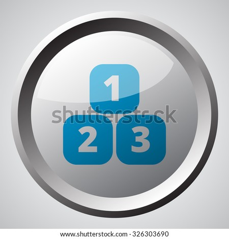 Web button with blue 123 Blocks icon  - stock vector