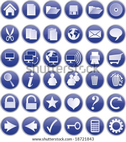 Web buttons and icons, blue