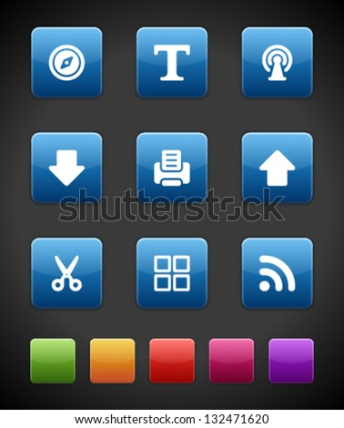 Web buttons and icons for website. Vector illustrations set. - stock vector