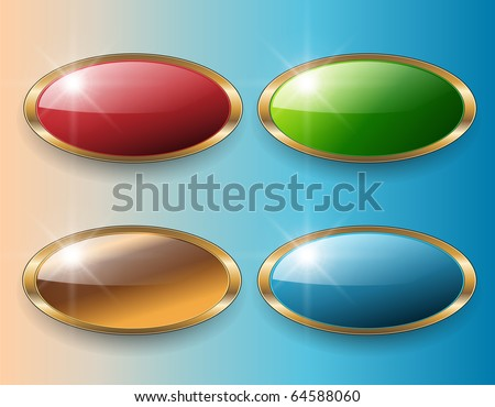 Web buttons, beautiful glossy set, vector. - stock vector