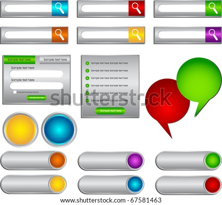 web buttons bubbles and forms - stock vector