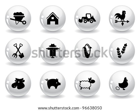 Web buttons, farming icons - stock vector